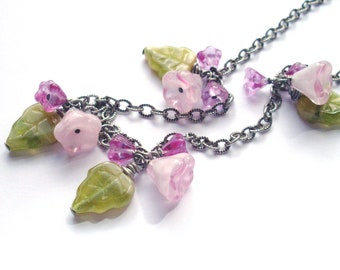 Flower leaf necklace - green pink posies, Czech glass bead dangles on chain in antiqued silver. Spring blossoms, flower bead jewelry