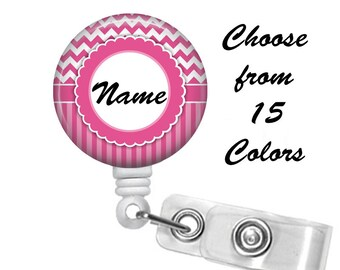 Chevron Stripes Scallop Badge Reel Personalized Name (15 Choices), ID Badge Holder, Medical Badge Reel, Nurse, Belt or Alligator clip