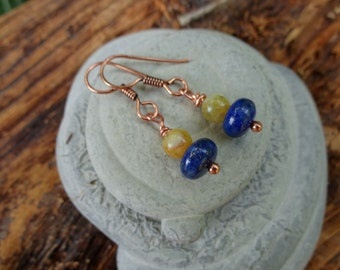 """Blue """"N Gold - Lapis and Yellow Opal Earrings"""