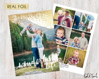 Photo Christmas Card : REAL FOIL It Really Is A Wonderful Life Brush Stroke Custom Photo Holiday Card Printable, Gold Foil, Rose Gold Foil
