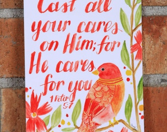 Cast Your Cares, 1 Peter 5:7, Red Bird Watercolor Art Print, 5x7 or 8x10