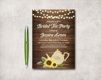 Sunflower invitation etsy bridal shower tea party invitation printable sunflower birthday invitation rustic sunflower bridal shower invite filmwisefo Images