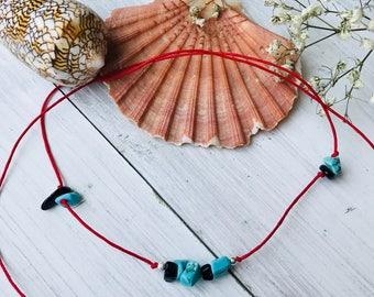 Ankle bracelet, gemstone string anklet, beach anklet, beach jewelry, beaded anklet for women, beaded anklet, turquoise agate anklet