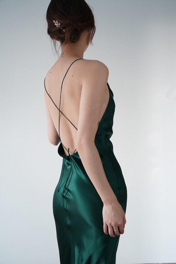 Cowl Neck  Emerald  Green Slip Dress  Gown Alashanghai by Etsy