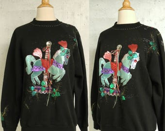 Vintage 80s Sweater / Ugly Tacky Holiday Christmas Party Painted Horse Carousel Jumper Sweatshirt