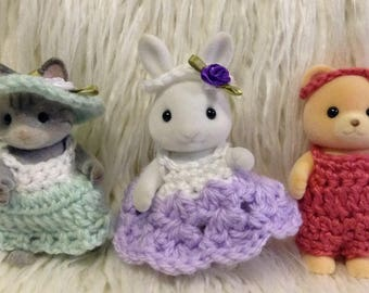 Clothes for Calico Critters Adult animals 3 outfits