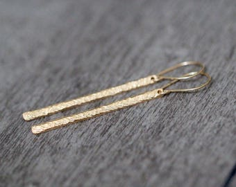 Gold Bar Earrings ,Thin Long & Lean Hammered Stick Earrings in Gold , Rose Gold , Sterling Silver ,