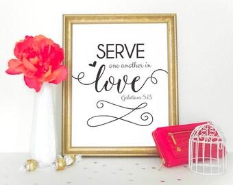 Scripture art, Christian wall decor poster, Inspirational, Galatians 5:13 - digital HOME DECOR