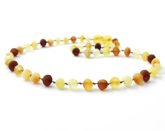 """Amber Teething Necklace for Baby, Multicolor, Available in 11-14.2"""" Length, Made from Raw Baroque Baltic Amber Beads"""