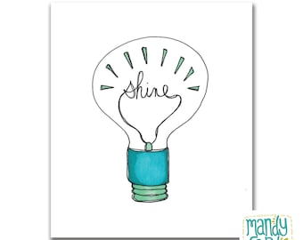 Shine Lightbulb Illustration Hand Drawn Print