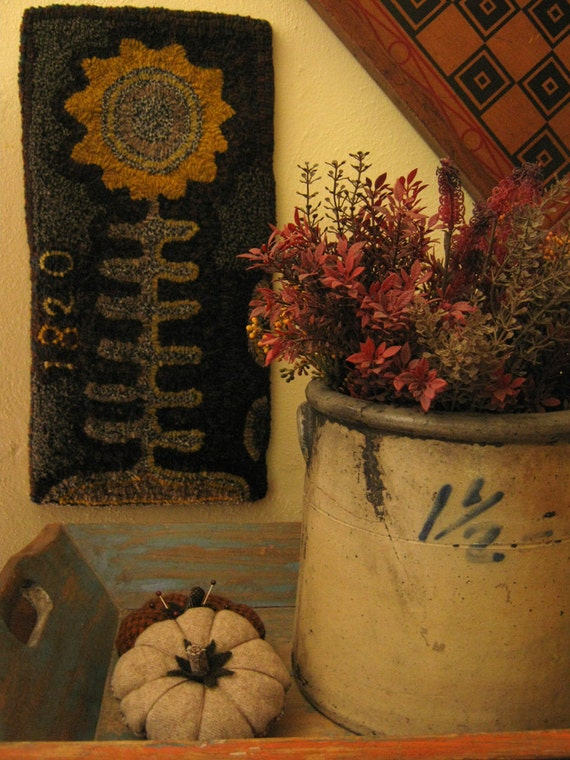 1820 Sunflower Primitive Hooked Rug Paper Pattern By Cathy