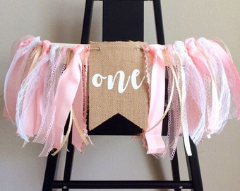 Pink and Gold HighChair Banner / 1st Birthday Banner / One Banner  / Pink gold birthday / Smash cake Decor / Girl First birthday /