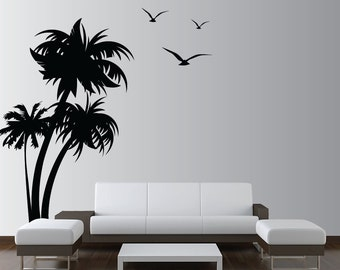 Palm Coconut Tree Wall Decal with seagull birds 3 Trees 1132 (8 feet tall)