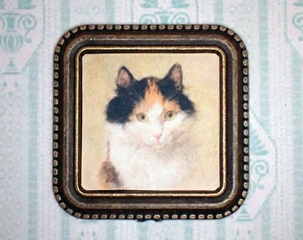 Miniature 1:12 Dollhouse Painting - Henriette Ronner-Knip - A Cat