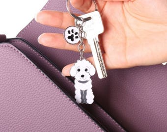Poodle keychain - white