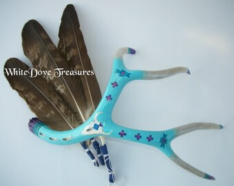 "DEER ANTLER Painted Tribal Art Natural Shed Southwestern Decor Native American Turquoise Silver Purple Buffalo Eagle Medicine 17""x14"" Lg"