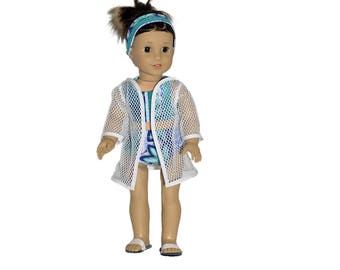 "Swimsuit/Cover-up/Headband/Sandals/Fits 18"" American Girl Doll/2-piece Swimsuit/4-piece Outfit/Get Ready For Summer/Fun At The Beach & Pool."