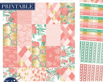 2 pack salmon and mint green printable floral stickers for Mambi Happy Planner.