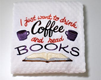 "Book Club Gift, Gift For Reader, Coffee Lover Gift, Librarian Gift, Teacher Gift, Dish Towel, Kitchen Towel, Hostess, Library Decor  ""Read"""