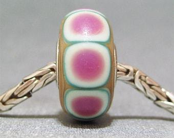 Pink and White Handmade Dot Lampwork Glass Bead Euro Bracelet Charm Pinafore