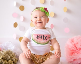 Watermelon First Birthday Outfit Girl | 1st Birthday Girl Outfit Watermelon | Baby Girls First Birthday Outfit |  One in a Melon