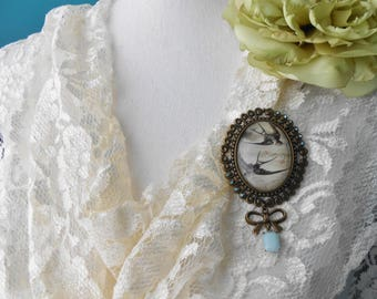 Romantic Victorian Barn Swallow Brooch Assemblage Repurposed Cameo Art Nouveau Lapel Pin