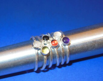 Sterling Silver Stack Ring with  5 mm Birth Stone  (FREE SHIPPING)