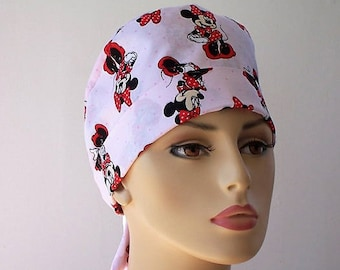 Scrub Hat Surgical Style Pixie Tie Back- Minnie Mouse In The Pink
