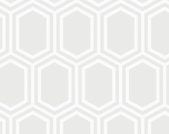 Opalescent Hexagon Fabric - White - sold by the 1/2 yard