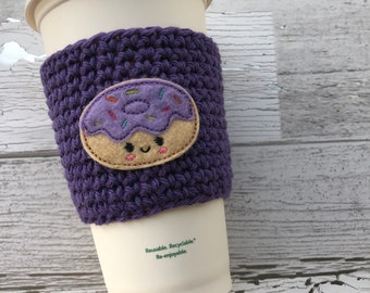 Donut Cup Cozy, Crochet Coffee Cozy, Coffee Sleeve, Drink Sleeve, Donut lover gift, Teacher Gift, Gift under 10, Party Favor