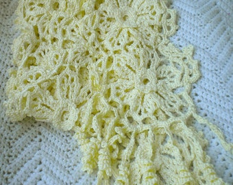 Crocheted Irish Knit Lace Scarf  Soft Yellow