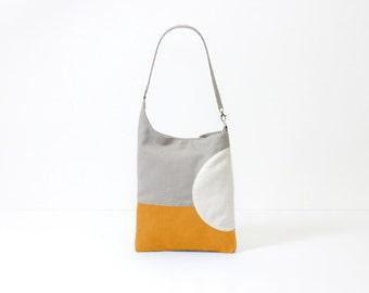 crossbody bag purse minimalist yellow bag geometric pattern zipper tote