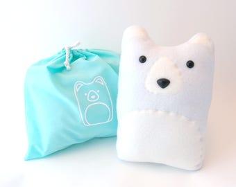 DIY Kit Polar Bear Pillow Plush - Fleece Fabric Animal Plushie - Do It Yourself Craft for Children and Adults - Make Your Own Arctic Bears