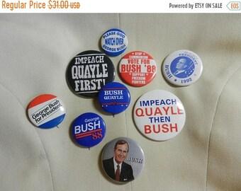 Spring Sale 9 Vintage Bush Political Campaign Buttons