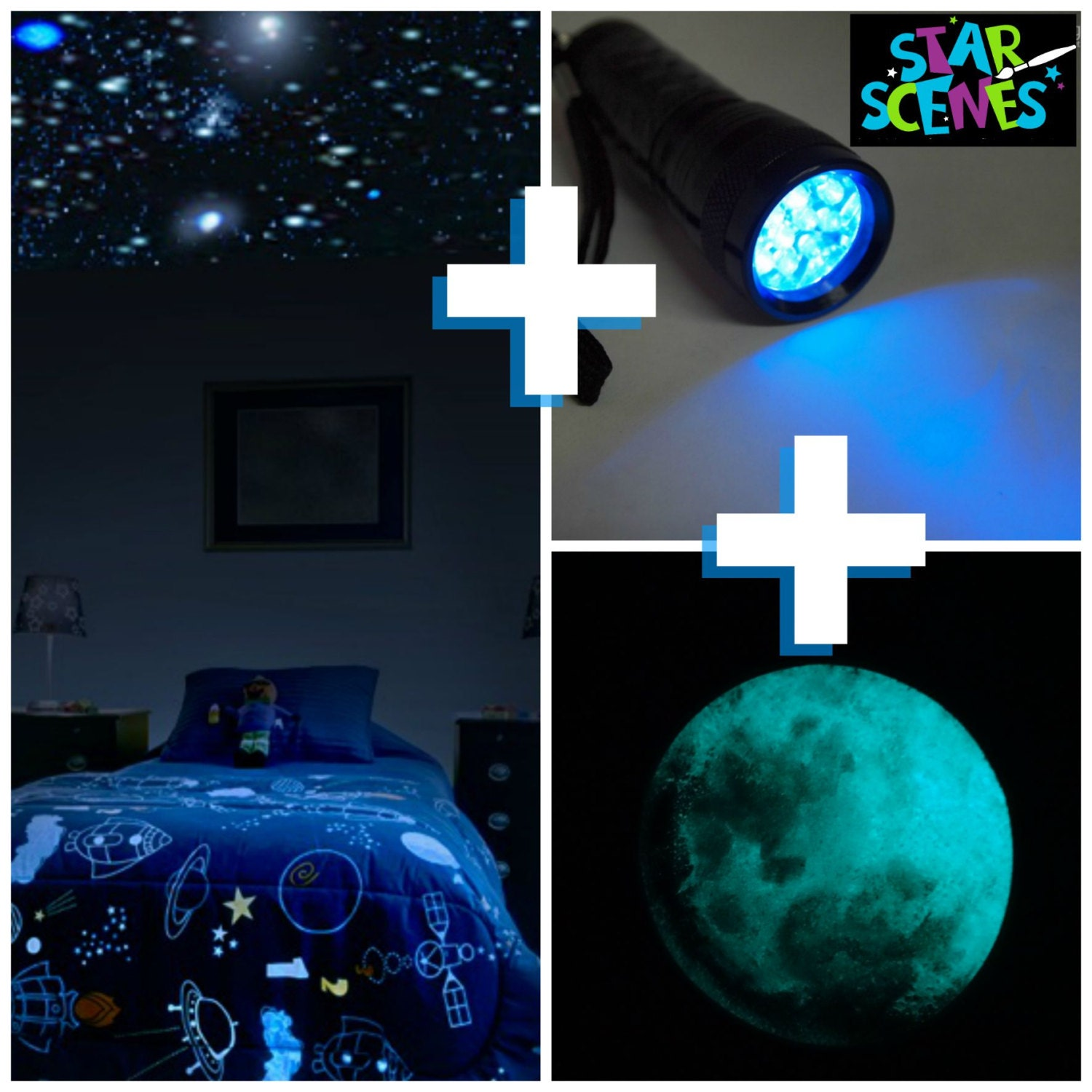 Glow in the dark stars moon package for kids room or nursery zoom mozeypictures Gallery