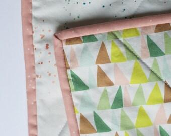 modern baby quilt, pink green modern kids quilt, geo crib quilt, geo toddler quilt, pink green crib bedding, handmade wholecloth quilt