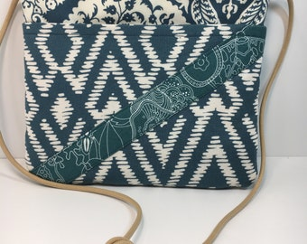 Small Cross Body~IKAT~MINI CROSSBODY~Teal Blue and Cream~Small Crossbody~Bags & Purses~Small Shoulder Bag~Go AnyWhere Bag~Small Hipster