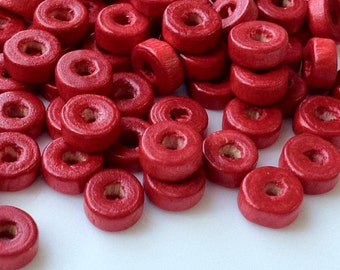8 mm x 3 mm Red Color Wooden Beads (.mt)