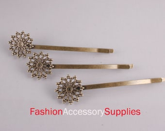 10PCS-70mm Antique Bronze Bobby Pin with 20mm Filigree Pad(E286)