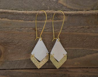 Geometric Leather White/Gold Earrings