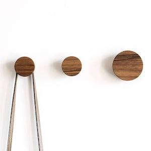 Wall hooks - walnut hook - coat hooks - wooden wall hooks - modern hook - rustic wall hooks - walnut knobs - scarf hooks - hat hooks