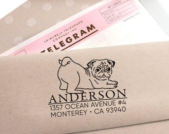 Custom Address Stamp - Cute Pug Return Address Stamp, Holiday Gift, Stocking Stuffer, Wedding Gift, Self Inking Rubber Stamp