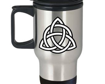 Celtic Gift, Triquetra, Knot, Travel Mug, Stainless Steel