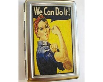 retro propaganda wallet vintage rosie the riveter cigarette case World War 2 kitsch