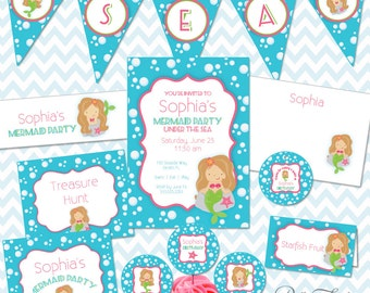 Mermaid Party Printables Instant Download - The Sophia Collection