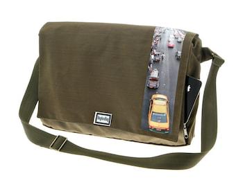 Army Green Messenger Bag,Printed laptop Bag , Cordura Bag with Adjustable Straps - Dundee Bangkok Print