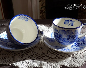 2 tea cups and saucers, tea set, blue and white china hand painted in Gzhel style by Lana Arkhi. Tea for two