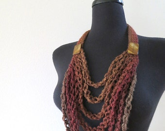 Brown Hazelnut Sienna Dark Taupe Coffee Cacao Color Statement Crochet Necklace Lariat Bib with Shell Beads
