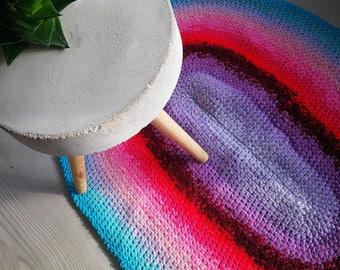 Crochet rug recycled materials