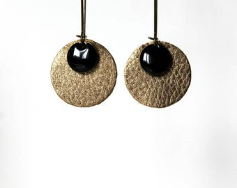 Gold Sequin black leather earrings